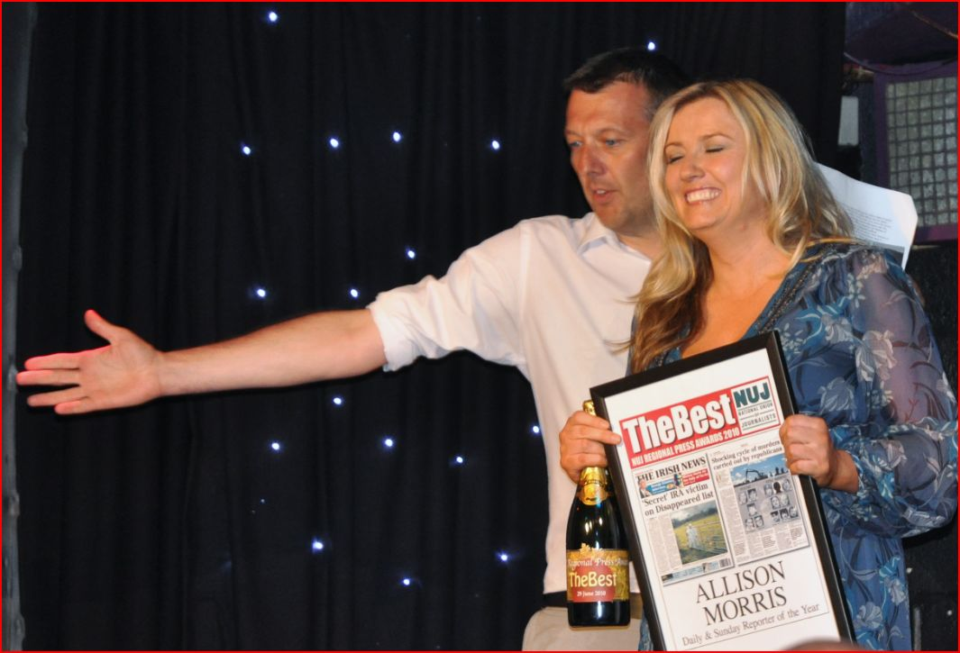Allison Morris on a happier day. She may not win an award for her 'Winky' Rea coverage however